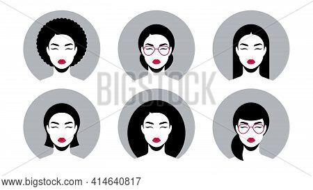 Avatars Icon Set. Set Of Diverse Female Faces For Profile, Design, Banner. Beautiful Female Avatars