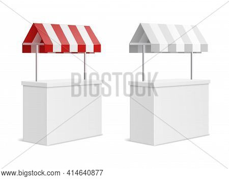 Promotion Counter. 3d Exhibition Stand Mockup With Fabric Striped Canopy, Mini Market Portable Place