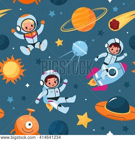 Space Seamless Pattern. Cosmic Objects And Little Astronauts, Cute Children In Spacesuits, Alien And