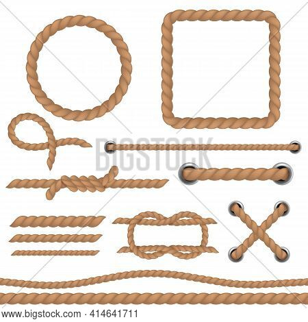 Rope Brown Set. Marine Cord Ropes Realistic Collection, Jute Or Hemp Cordage Frames And Borders, Rou
