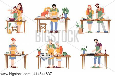 People Cook Different Dishes At Table Isolated. Parents Mum And Dad Teaching Daughter And Son To Coo