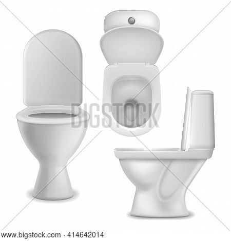 Toilet Bowl Realistic. Clean Lavatory Bathroom Ceramic Bowls Group Top, Side And Front View, White T
