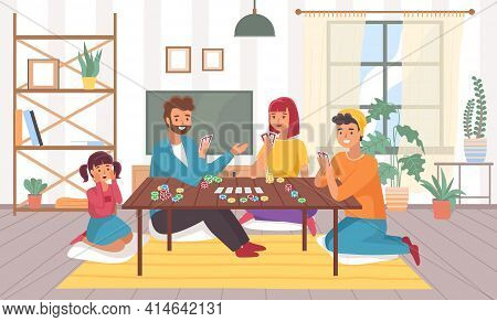 Family Plays Board Games At Home. Happy Parents And Children In Room Interior With Chips And Cards.