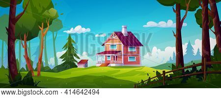 Rural House Landscape Forest Scenery View On Country Home With Chimney, Stairs And Porch. Building I