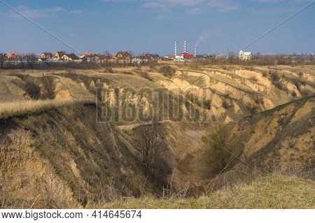 Early Spring Landscape With Sandy Ravines In Outskirts Of Dnipro City, Ukraine
