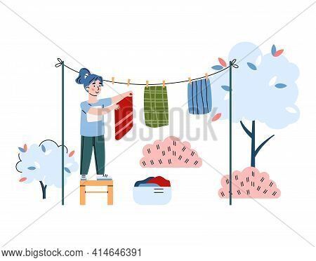 Child Hangs Up The Washed Laundry Outdoors, Cartoon Vector Illustration Isolated.