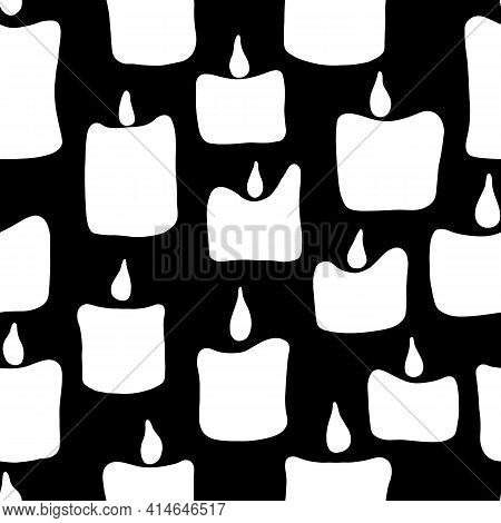Seamless Pattern With White Noel Xmas Birthday Candles On Black Background.