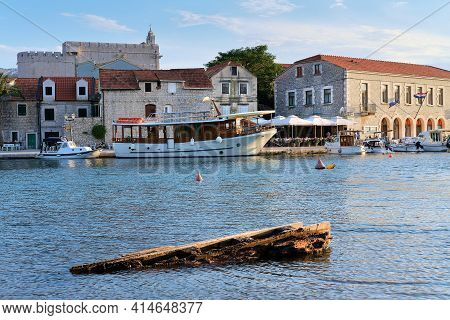 Boats And Houses In Vrboska Village, Hvar Island, Dalmatia, Croatia, Europe. Travel And Vacation Des