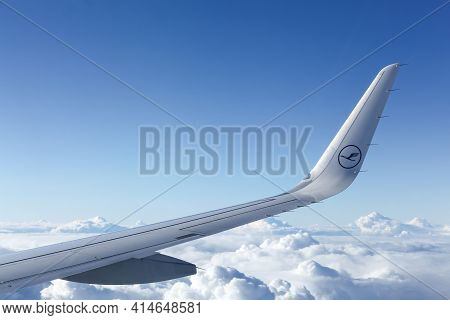 Germany - September 19, 2015: Lufthansa Aircraft In The Sky. Lufthansa Is A German Airline And Also