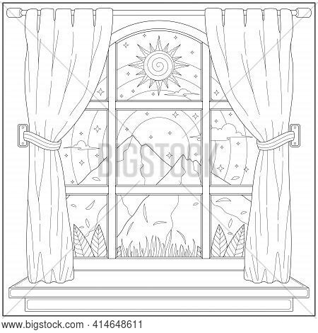 Beautiful Mountain Landscape View From House Curtain. Learning And Education Coloring Page Illustrat