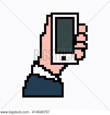 Pixel Art Phone In Hand. Vector 8 Bit Web Icon Isolated On White Background.