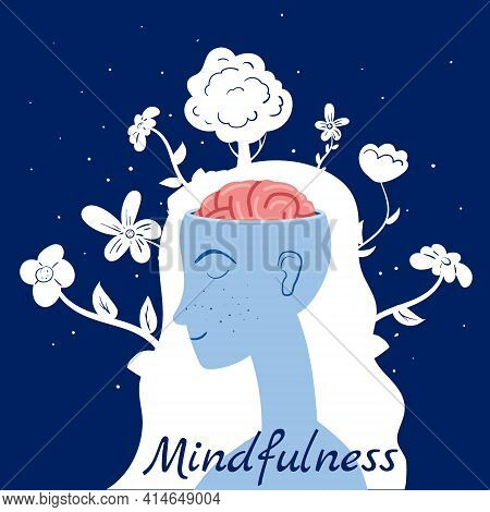 Mindfulness Concept Woman In Meditation. Open Brain Mental Calm Mind, Releasing Stress. Vector Illus