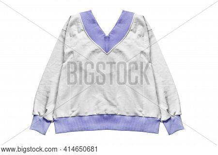 Oversized White And Blue Sweatshirt Isolated Over White