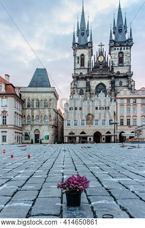 Prague, Czech Republic - March 26, 2021. 25 000 Crosses On Old Town Square As Memory Of Covid-19 Vir