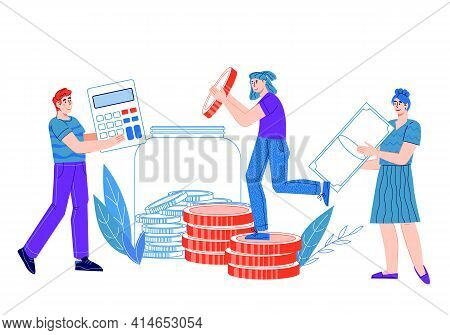 Money Saving And Budget Economy, Accounting And Finance Management With People Putting Coins Into Mo