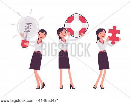 Smart Businesswoman, Business Manager With Giant Bulb Lamp, Lifebuoy, Puzzle. Office Worker Professi