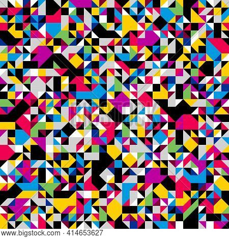 Geometric Mosaic Vector Seamless Pattern, Chaotic Abstract Background For Wallpapers, Wrapping Paper