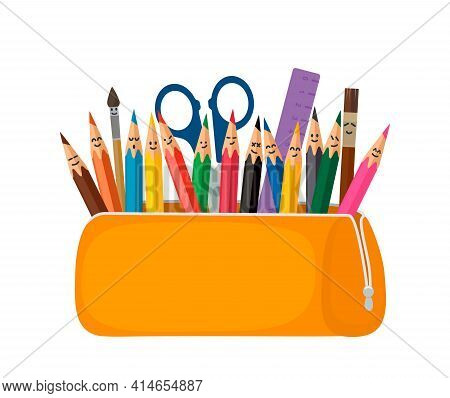 Bright School Pencil Case With Filling School Stationery Such As Pens, Pencils, Scissors, Ruler, Tas