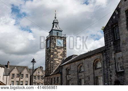 The Townscape Or Stirling Town In Scotland, Uk With The Clock Tower Of Tolbooth