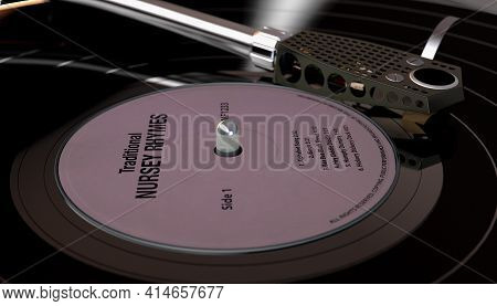 A Vintage Unbranded Turntable Playing A Nursery Rhymes Vinyl Record On A Moody Backlit Dark Backgrou