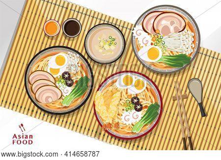 Japanese Ramen Noodle, Traditional Asian Noodle Soup, Illustration Vector.
