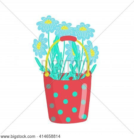 Red Bright Polka Dot Bucket Filled With Daisies, Bouquet Of Daisies, Spring Flowers, Vector Illustra