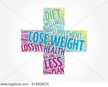 Lose Weight Cross Word Cloud Collage, Health Concept Background