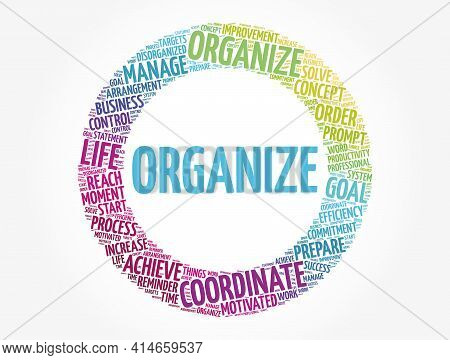 Organize Circle Word Cloud, Business Concept Background