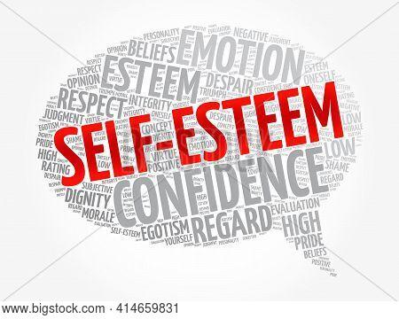 Self-esteem Message Bubble Word Cloud, Concept Background