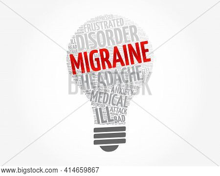 Migraine Light Bulb Word Cloud Collage, Health Concept Background