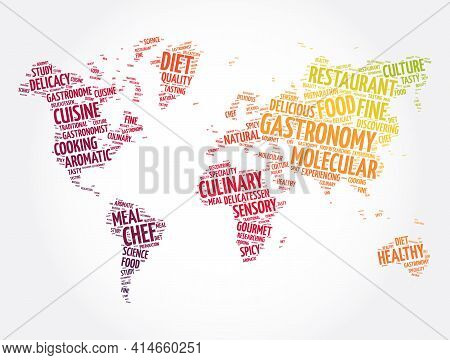Gastronomy Word Cloud In Shape Of World Map, Concept Background
