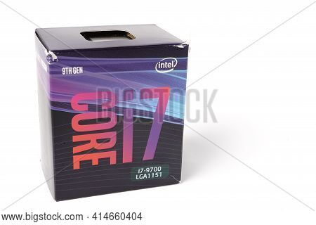 Moscow, Russia - March 3 2021: A Box With An Intel Corei7 9700 Processor With A Logo On A White Back