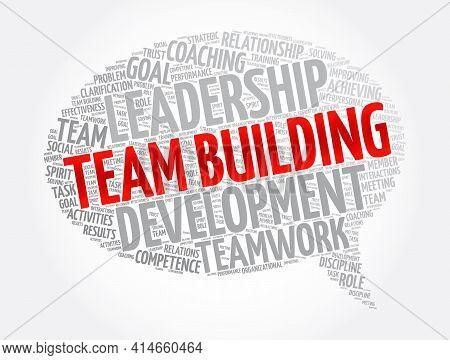 Team Building Message Bubble Word Cloud Collage, Business Concept Background
