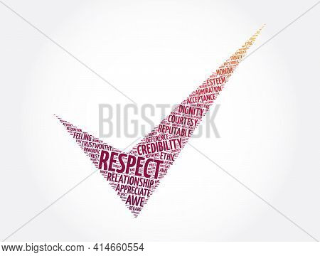 Respect Check Mark Word Cloud Collage, Concept Background