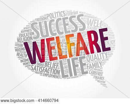 Welfare Message Bubble Word Cloud Collage, Concept Background