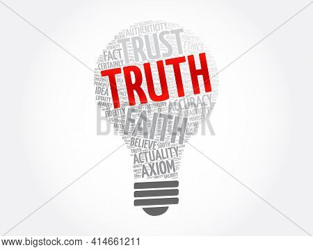 Truth Light Bulb Word Cloud Collage, Concept Background