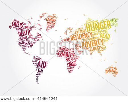 Hunger Word Cloud In Shape Of World Map, Concept Background