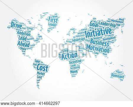 Initiative World Map Word Cloud Collage, Concept Background