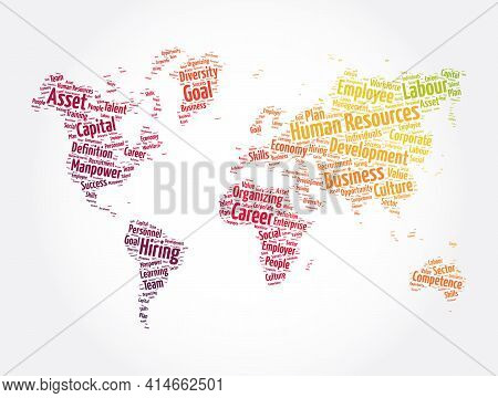 Human Resources Word Cloud In Shape Of World Map, Business Concept Background