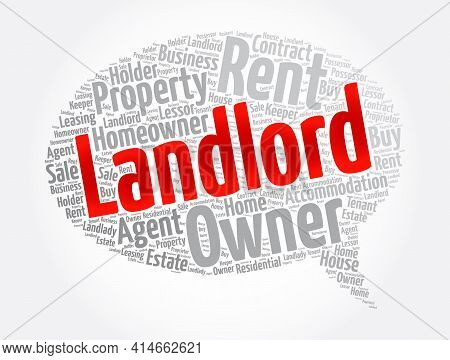 Landlord Message Bubble Word Cloud Collage, Concept Background