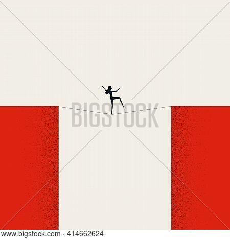 Business Challenge And Risk Vector Concept. Symbol Of Danger, Achievement And Courage. Minimal Illus