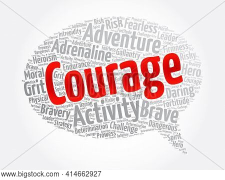 Courage Message Bubble Word Cloud Collage, Concept Background