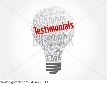 Testimonials Light Bulb Word Cloud Collage, Concept Background