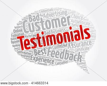 Testimonials Message Bubble Word Cloud Collage, Concept Background