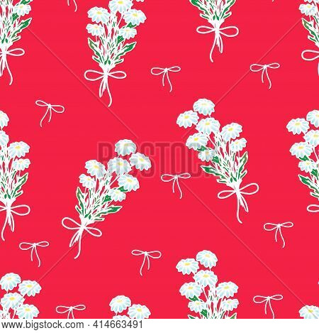 Daisies On A Colored Background, Wild Daisies Tied With A Red Ribbon, Spring Flowers, Summer Vector