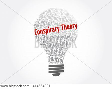 Conspiracy Theory Word Cloud Collage, Concept Background