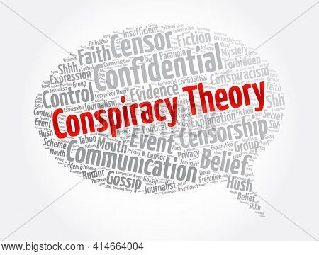 Conspiracy Theory Message Bubble Word Cloud Collage, Concept Background