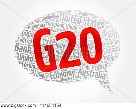 The G20 (or Group Of Twenty) International Forum 19 Countries, Word Cloud Concept Background