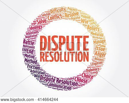 Dispute Resolution Word Cloud Collage, Concept Background
