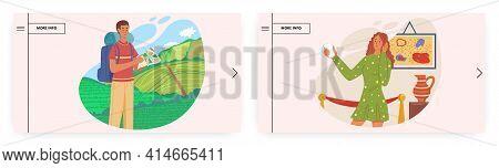 Summer Vacation Landing Page Design, Website Banner Vector Template Set. Hiking, Trekking, Travel, O